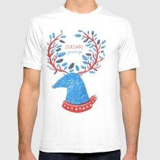 Reindeer Seasons Greetings White Mens Fitted Tee SMALL
