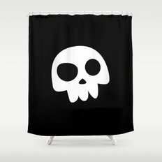 Skull Head logo with Three Teeth   Bones, white, pirates, symbolism, mortality, death, Halloween Shower Curtain