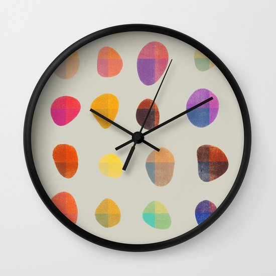 Painted Pebbles 4 Wall Clock