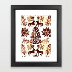 horse damask Framed Art Print