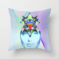 Psychedelic Woman Throw Pillow