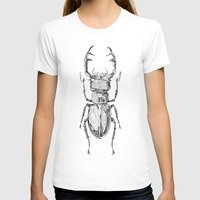 Lucanus cervus Womens Fitted Tee White SMALL