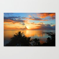 Sunset in French Polynesia Canvas Print