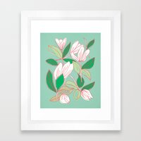 Floating Tulips (mint Gr… Framed Art Print