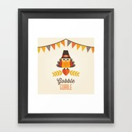 THANKSGIVING OWL IN TURK… Framed Art Print