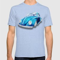 VW Beetle Blue Mens Fitted Tee Tri-Blue SMALL