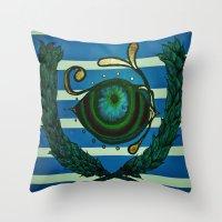 Eye, Greek Olive Throw Pillow