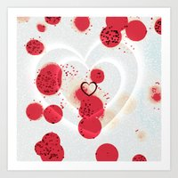 Scattered Hearts Art Print