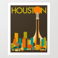 Art Print featuring HOUSTON SKYLINE by Jazzberry Blue