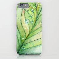 iPhone & iPod Case featuring Green Watercolor Feather and Bubbles by Olechka