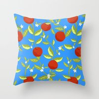 Orange Grove Pattern Throw Pillow