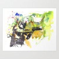 Boba Fett Firing Off Gre… Art Print