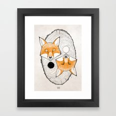 yin yang fox Framed Art Print