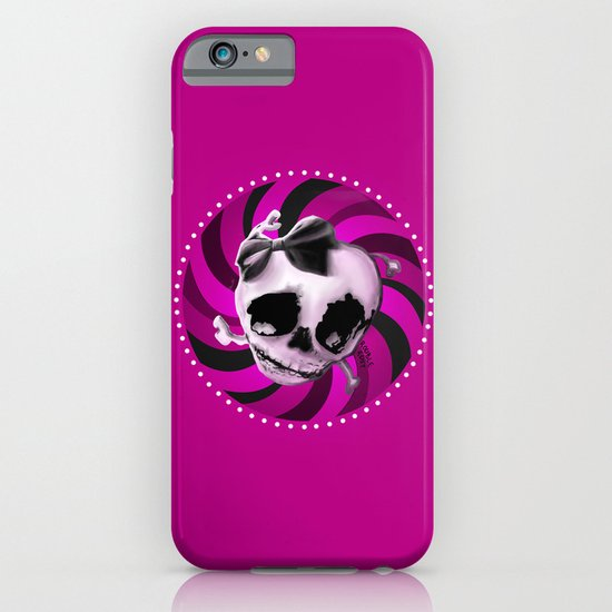 Girly Pink Skull with Black Bow iPhone & iPod Case