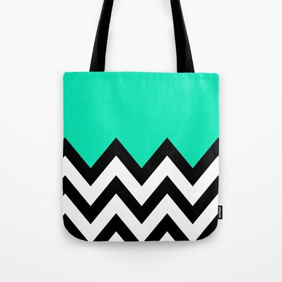 TEAL COLORBLOCK CHEVRON Tote Bag