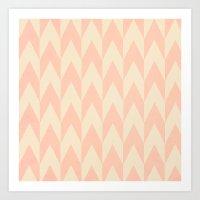 Vintage Pink Uneven Chev… Art Print