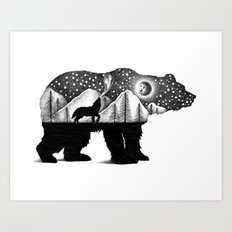 THE BEAR AND THE WOLF Art Print