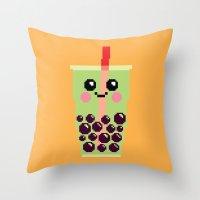 Happy Pixel Bubble Tea Throw Pillow