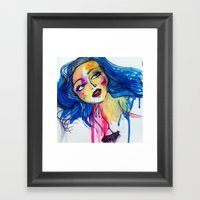 Blue Haired Girl Framed Art Print