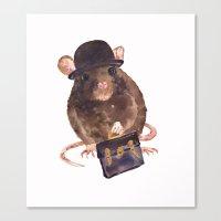 rat, journalist, office rat, rat in hat, cheeky rat, British, funny rat Canvas Print