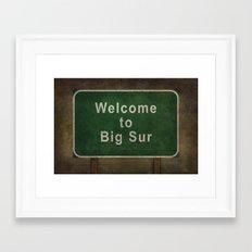 Welcome to Big Sur, roadside sign illustration Framed Art Print