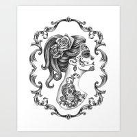 Sugar Skull Girl Cameo Art Print