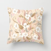 Floral Curve Pattern, Ro… Throw Pillow