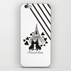 French (bulldogs) kiss in Paris iPhone & iPod Skin