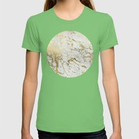 Gold marble Womens Fitted Tee Grass SMALL