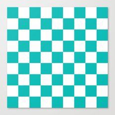 Checker (Tiffany Blue/White) Canvas Print