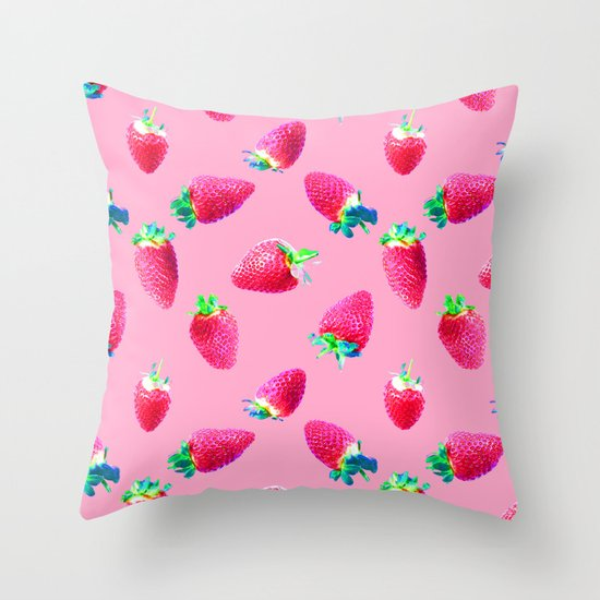 Pink Strawberry Pop Throw Pillow