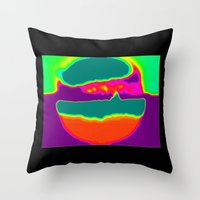Psychedelic Hamburger Throw Pillow
