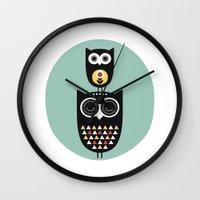 Owl décor - modern nursery art - geometric pattern Wall Clock