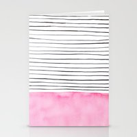Stripes and pink watercolor Stationery Cards