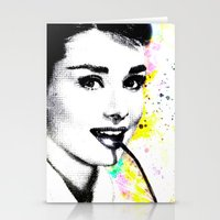 audrey hepburn Stationery Cards featuring AUDREY HEPBURN by Simone Morana Cyla