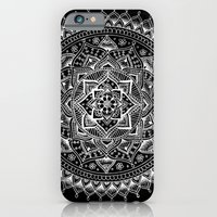 iPhone Cases featuring White Flower Mandala on Black by Laurel Mae