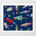 rockets in traffic Art Print