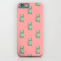 iPhone & iPod Case featuring Crazy Cat (Green/Red) by Rat McDirtmouth