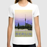 BERLIN SKYLINE Womens Fitted Tee White SMALL