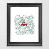 Little Red Car Framed Art Print