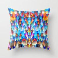 Colorful digital art splashing G397 Throw Pillow