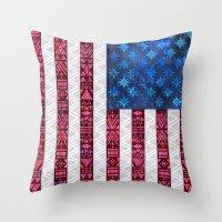 Tribal America - Flag Throw Pillow