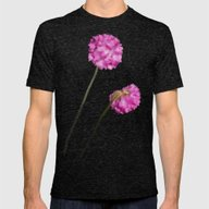 2 Watercolor Flowers Mens Fitted Tee Tri-Black SMALL