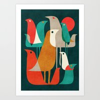 flower Art Prints featuring Flock of Birds by Picomodi