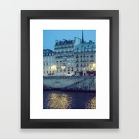 Paris by Night: Ile de la Cite Framed Art Print