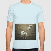 Sheep in a field Mens Fitted Tee Light Blue SMALL