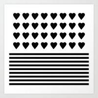 Heart Stripes Black On W… Art Print
