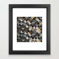 REALLY MERMAID BLACK GOLD Framed Art Print