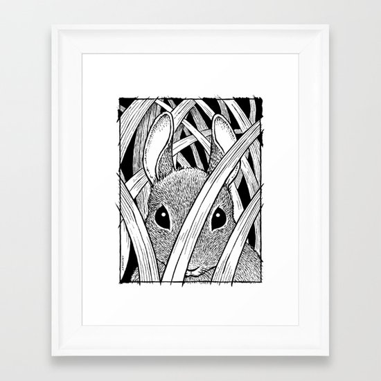 Bunny in the Grass Framed Art Print