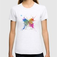 Butterfly Color Explosio… Womens Fitted Tee Ash Grey SMALL